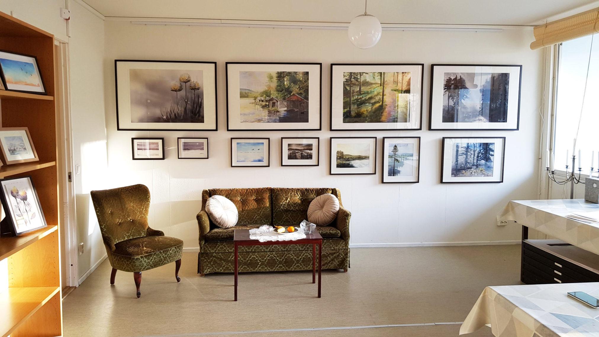 Bild från Galleriet i min ateljé på Kulturbanken 2.0 i Ånge